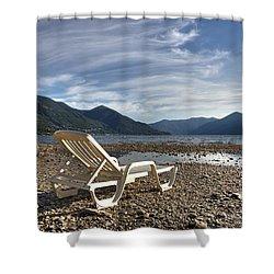 Sun Chair On Lake Maggiore Shower Curtain by Joana Kruse