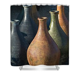 Sunrise And Pottery Shower Curtain by Sandra Bronstein