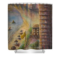 Shower Curtain featuring the painting Sunset Beach by Bernadette Krupa