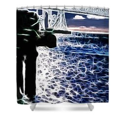 Sunset On The Columbia River Shower Curtain by Methune Hively