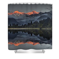 Sunset Reflection Of Lake Matheson Shower Curtain by Colin Monteath