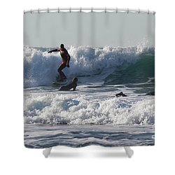 Surfers At Porthtowan Cornwall Shower Curtain by Brian Roscorla