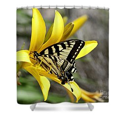 Swallowtail Yellow Lily Shower Curtain