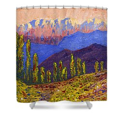 Swiss Alps Impasto Shower Curtain by Edward McNaught-Davis