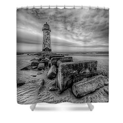 Talacre Lighthouse Shower Curtain by Adrian Evans