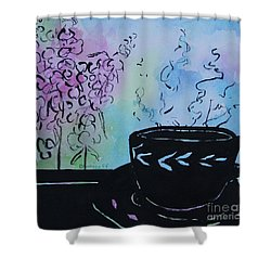 Tea And Snap Dragons Shower Curtain