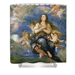 The Assumption Of Mary Magdalene Shower Curtain by Jose Antolinez