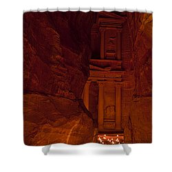 The Famous Treasury Lit Up At Night Shower Curtain by Taylor S. Kennedy
