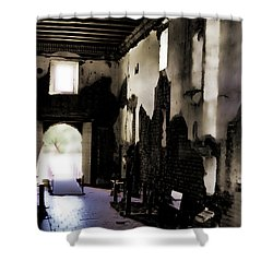 The Ghostly Nave Shower Curtain by Donna Greene