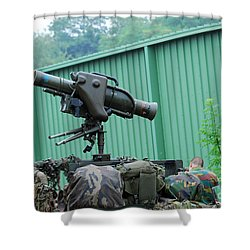 The Milan, Guided Anti-tank Missile Shower Curtain by Luc De Jaeger