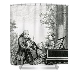 The Mozart Family On Tour, 1763 Shower Curtain by Photo Researchers