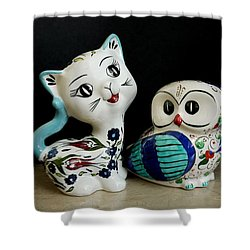 The Owl And The Pussy Cat Shower Curtain by John Chatterley