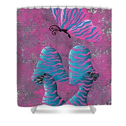 Shower Curtain featuring the painting The Zebra Effect by Oddball Art Co by Lizzy Love