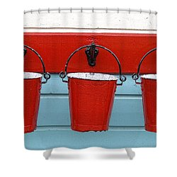 Three Red Buckets Shower Curtain