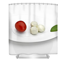 Tomato Mozzarella Shower Curtain by Joana Kruse