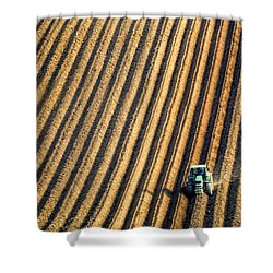 Tractor Plowing A Field Shower Curtain by John Short
