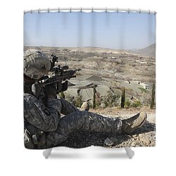 U.s Army Soldier Scans His Sector Shower Curtain by Stocktrek Images