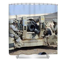U.s. Marines Prepare To Fire A Howitzer Shower Curtain by Stocktrek Images
