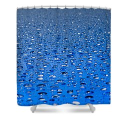 Water Drops On A Shiny Surface Shower Curtain by Ulrich Schade