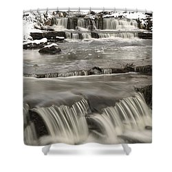 Waterfalls With Fresh Snow Thunder Bay Shower Curtain by Susan Dykstra