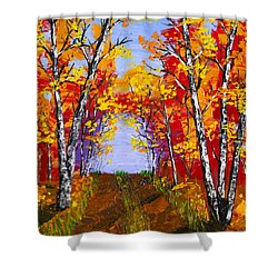 White Birch Tree Abstract Painting In Autumn Shower Curtain