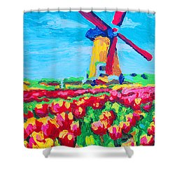 Windmill And Tulips Shower Curtain