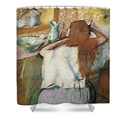 Woman At Her Toilet Shower Curtain by Edgar Degas