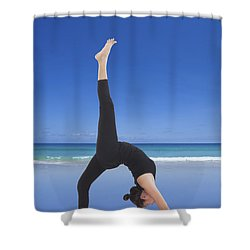 Woman Doing Yoga On The Beach Shower Curtain by Setsiri Silapasuwanchai
