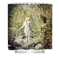 Woman In A Forest Shower Curtain by Joana Kruse