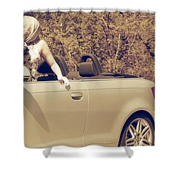 Woman In Convertible Shower Curtain by Joana Kruse