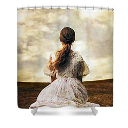 Woman On A Meadow Shower Curtain by Joana Kruse