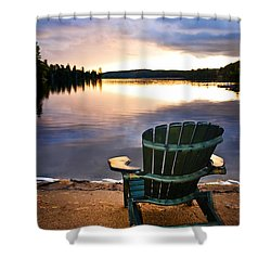 Wooden Chair At Sunset On Beach Shower Curtain by Elena Elisseeva