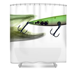 X-ray Of Muskie & Lure Shower Curtain by Ted Kinsman