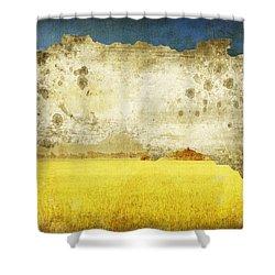 Yellow Field On Old Grunge Paper Shower Curtain by Setsiri Silapasuwanchai