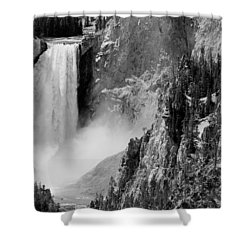 Yellowstone Waterfalls In Black And White Shower Curtain by Sebastian Musial