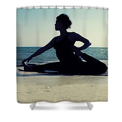 Yoga Shower Curtain by Stelios Kleanthous
