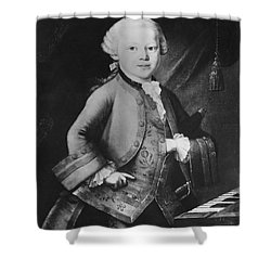 Young Wolfgang Amadeus Mozart, Austrian Shower Curtain by Omikron