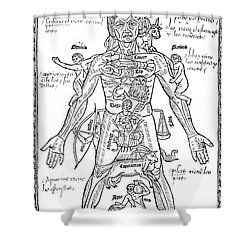 Zodiac Man, Medical Astrology Shower Curtain by Science Source