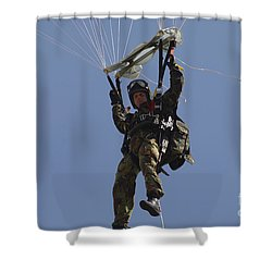 A Member Of The Pathfinder Platoon Shower Curtain by Andrew Chittock