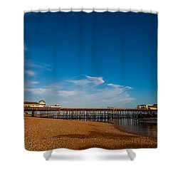Hastings Pier Shower Curtain by Dawn OConnor