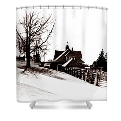 1900 Farm Home Shower Curtain by Marcin and Dawid Witukiewicz