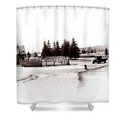 1900 Farm Shower Curtain by Marcin and Dawid Witukiewicz