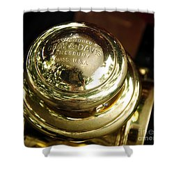 1907 Stanley Steamer - Top View Brass Tail Light Shower Curtain by Kaye Menner