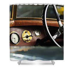 1921 Bentley  Instruments And Steering Wheel Shower Curtain by Jill Reger