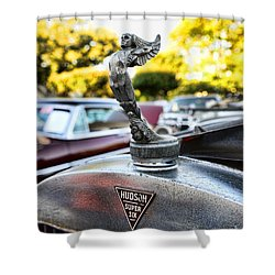 1928 Hudson Super Six Roadster Hood Ornament Shower Curtain by Paul Ward