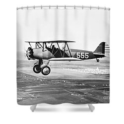 1930s Pilot Training Shower Curtain by Omikron