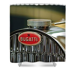 1935 Bugatti Type 57 Grand Raid Roadster Emblem Shower Curtain by Jill Reger