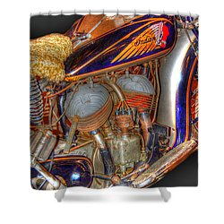 1940 Indian Scout Police Unit Version 1 Shower Curtain by Ken Smith