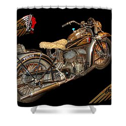 1940 Indian Scout Police Unit Version 3 Shower Curtain by Ken Smith