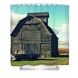 1950 Cadillac Barn Cornfield Shower Curtain by Lyle Hatch